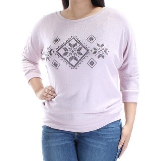HIPPIE ROSE Womens New 1279 Pink Nordic 3/4 Sleeve Sweater L Juniors B+B