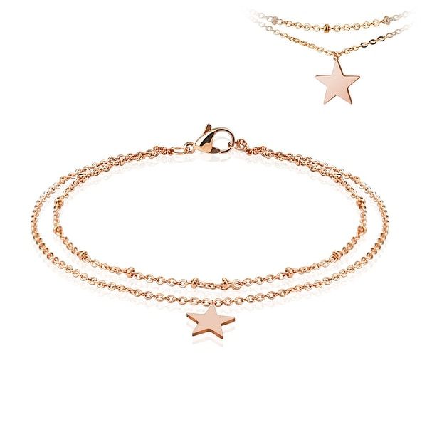 Star Dangling Charm Rose Gold Stainless Steel Beaded Double Link Chain Anklet/Bracelet (13.5 mm) - 9.25 in