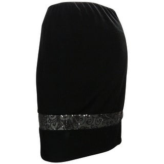 Alex Evenings Women's Knee Length Velvet Sequin Skirt - XL