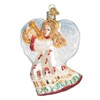 "3.5"" Old World Christmas Take Note Angel Glass Ornament #10214 - WHITE"