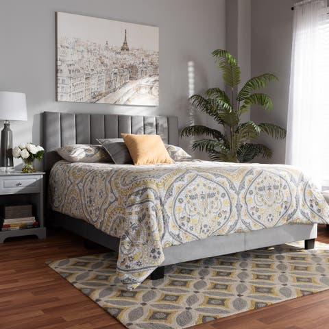 Silver Orchid Sten Glam and Luxe Upholstered Panel Bed with Headboard