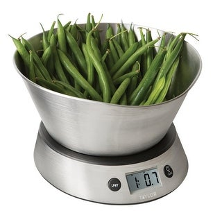 Taylor Stainless Steel Measuring Bowl Digital Kitchen Scale, 11lbs, 5kg Capacity