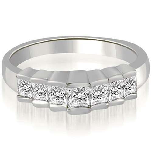 0.75 cttw. 14K White Gold Princess Cut Diamond Wedding Band