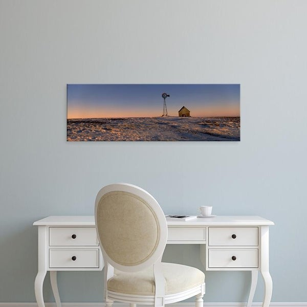 Easy Art Prints Panoramic Images's 'Windmill in a snow covered farmland, Illinois, USA' Premium Canvas Art
