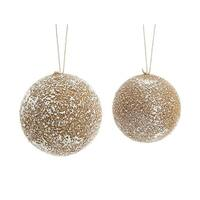 Pack of 8 Brown and White Frosted Christmas Decorative Foam Ball Ornament 6""