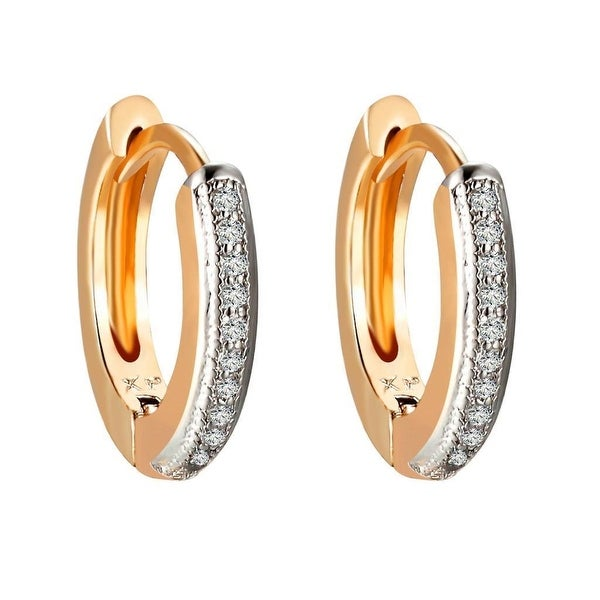 Ladies Hoop Huggies Earrings 14k Gold Plate Lab Diamonds Clip On