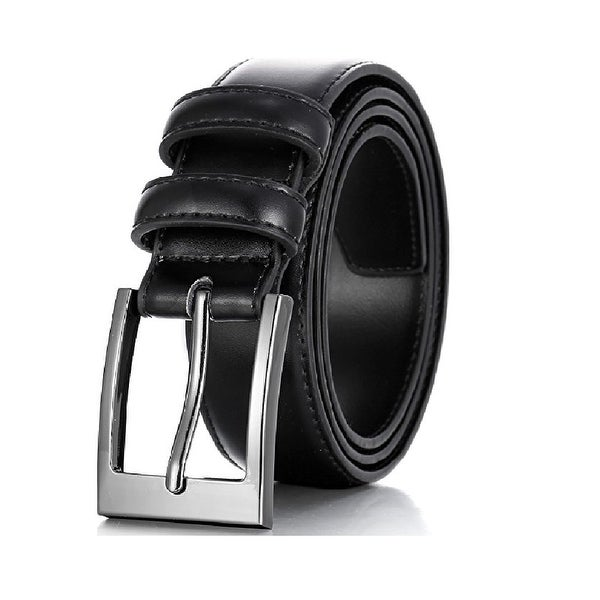 Daily Basic Men Genuine Leather Dress Classic Style Belt with Single Prong Buckle - Stitch Lining