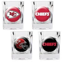 """Great American Products Kansas City Chiefs Shot Glass Set 4pc Collectors Shot Glass Set"""
