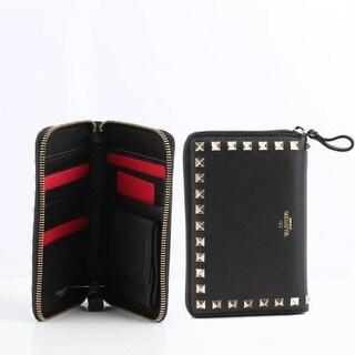 Valentino Women's Black Rockstud Zip Around Wallet