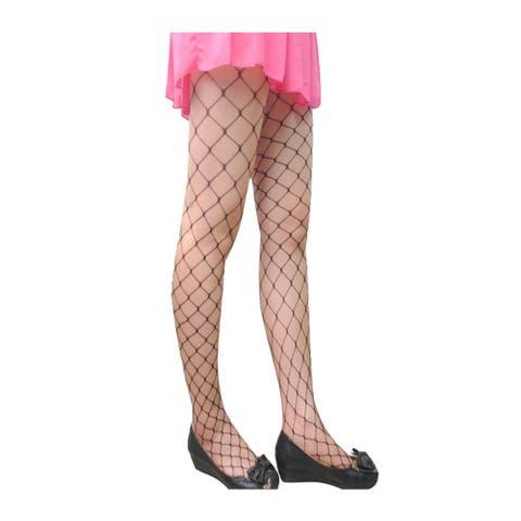 Women 2 Pack Trendy Strechy Fishnet Stockings Pantyhose Max Net - Black - Max Net - One Size