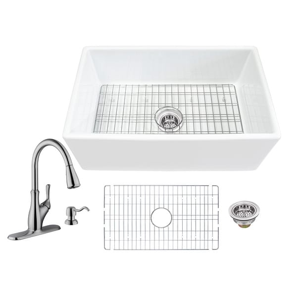 Soleil All-In-One White Fireclay Farmhouse Apron Front Single Bowl Kitchen Sink with Pull Out Kitchen Faucet. Opens flyout.