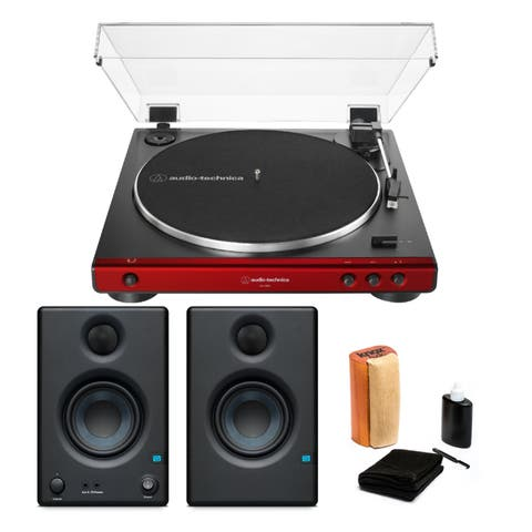 Audio-Technica AT-LP60X Turntable (Red) with Monitors and Cleaning Kit