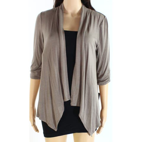 AGB Womens Sweater Brown Size Large L 3/4 Sleeve Open Front Cardigan