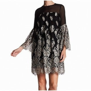 Erin Fetherston NEW Black Womens Size 4 White Floral Lace Shift Dress