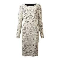 INC International Concepts Women's Textured Print Dress - Ivory Paisley