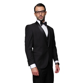 BLACK TUXEDO Men's 3pc Suit, Modern Fit, 1 Button, 2 Side Vent, Flat Front Pants