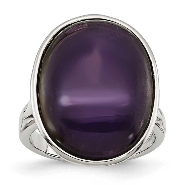 Stainless Steel Synthetic Amethyst Ring (4 mm)
