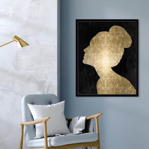 Oliver Gal 'Flower Built Glam' People and Portraits Framed Wall Art Prints Silhouettes - Gold, Black