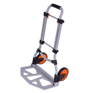 Costway Folding Dolly Hand Truck Cart Collapsible Push Trolley Luggage 150 LB Capacity
