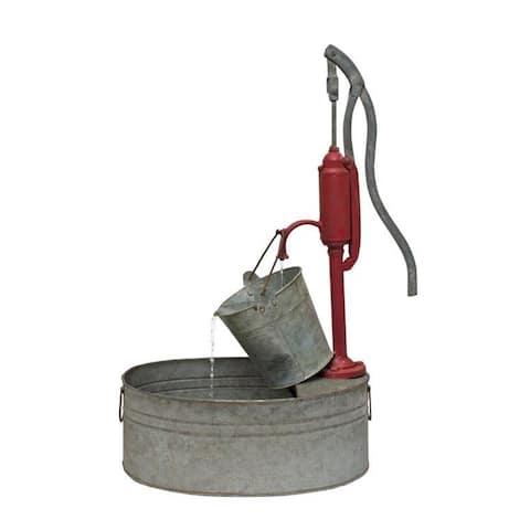 "Pump with Pail Fountain 18.25""L x 29.5""H Iron"