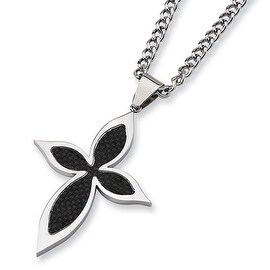 Chisel Black Carbon Fiber Polished Stainless Steel Cross Necklace on 24 Inch Bead Chain (3 mm) - 24 in