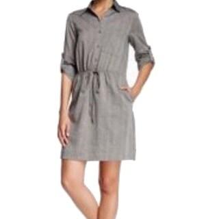 Max Studio NEW Gray Women's Size Medium M Drawstring Shirt Dress