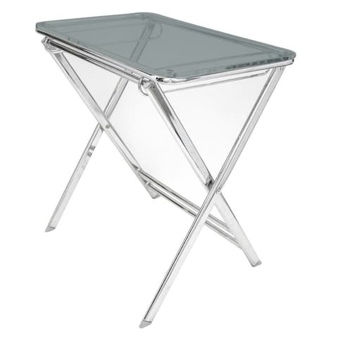 LeisureMod Victorian Lucite Acrylic Foldable End Side Table Tray