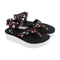 Teva Flatform Floral Womens Black Textile Flip Flops Strap Sandals Shoes