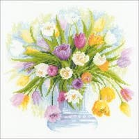 """12""""X12"""" 14 Count - Tulips Counted Cross Stitch Kit"""