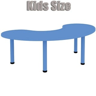 """2xhome - Blue - Kids Table - Height Adjustable 18.5"""" to 19.5"""" - Half-Moon Plastic Modern Activity Table with Metal Legs"""