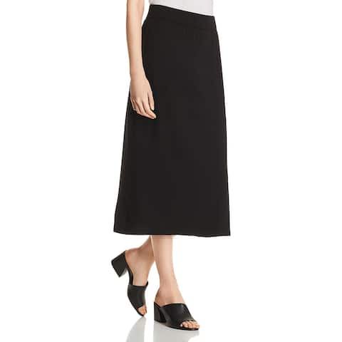 Eileen Fisher Womens A-Line Skirt Tencel-Blend Midi - Black - XXS