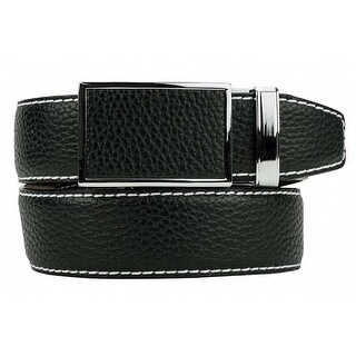 Nexbelt Go-In! Pebble Grain Pitch Black Leather Strap Dress Belt