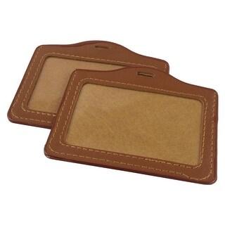Unique Bargains Unique Bargains 10pcs Faux Leather Horizontal Staff Name Badge Holder Brown