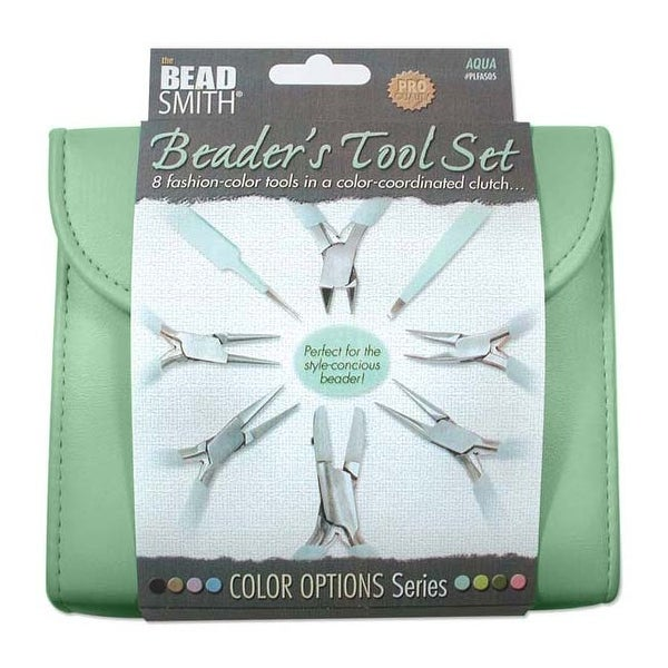 Beadsmith 8 Piece Plier & Tweezer Set Aqua Green Jeweler's Tool Kit With Travel Case