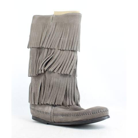 Minnetonka Womens Calf Hi 3-Layer Fringe Boot Grey Fashion Boots Size 5