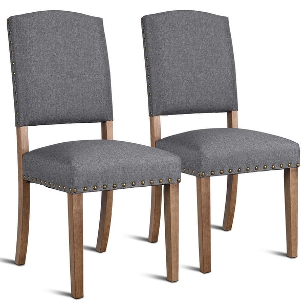 Shop Costway Set of 2 Nailhead Dining Side Chair Fabric ...