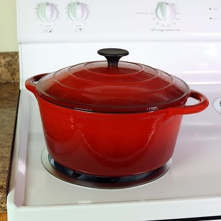 Sunnydaze Red Enamel Cast Iron Pot Pre Seasoned 9 Inch 6 Quart