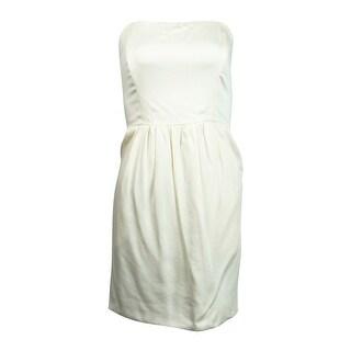 Rachel Women's Strapless Pocketed Flare Dress - Antique White - 4