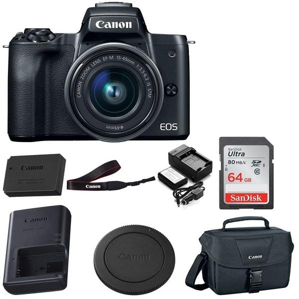 Canon EOS M50 15-45mm Mirrorless Digital Camera (Black) w/ 64GB Bundle. Opens flyout.
