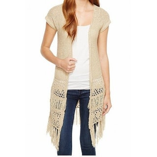 Sanctuary NEW Beige Women's Size Small S Fringed Open Cardigan Sweater