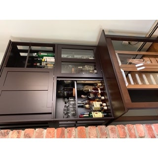 Porch & Den Jefferson Glass Sliding Door Stackable Cabinet