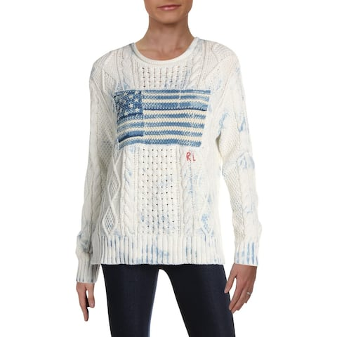 Polo Ralph Lauren Womens Pullover Sweater Printed Cable Knit - M