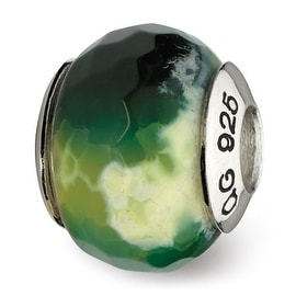 Sterling Silver Reflections Green Cracked Agate with Shell Stone Bead (4mm Diameter Hole)