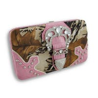 Rhinestone Buckle Forest Camo Flat Wallet with Croc Trim