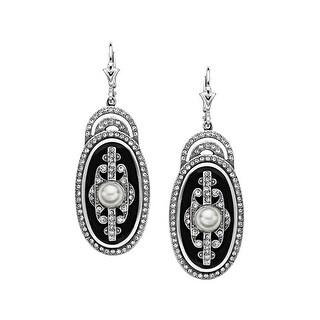 Van Kempen Art Deco Simulated Pearl Drop Earrings with Swarovski Crystals in Sterling Silver