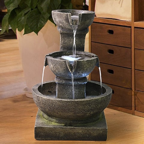 Outdoor Waterfall Fountain - 3-Tier Home Water Fountain w/LED Light