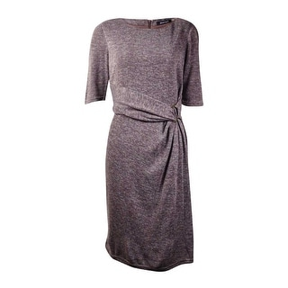 Ellen Tracy Women's Draped Half-Sleeves Knit Dress (10, Taupe) - 10