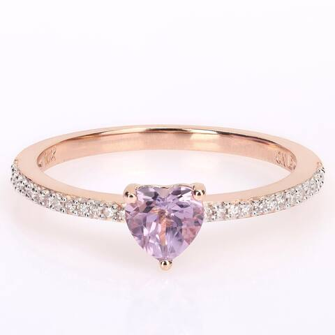 Miadora 10k Rose Gold Heart-cut Rose de France and 1/10ct TDW Diamond Birthstone Ring