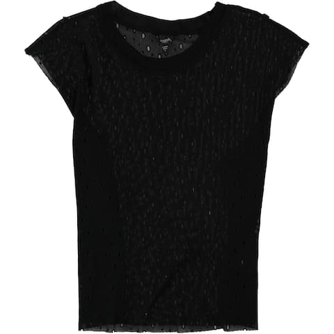 GUESS Womens Perforated Basic T-Shirt, black, Large