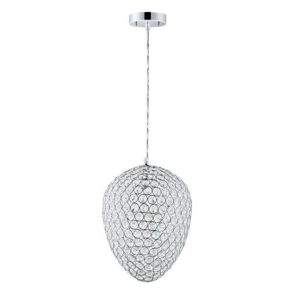"Globe Electric 65087 1-Light 11"" Wide Pendant with Chrome and Crystal Egg Shade - N/A"